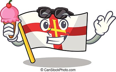 With ice cream flag guernsey with the cartoon shape vector illustration