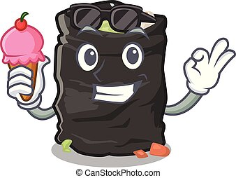 With ice cream garbage bag in the cartoon shape vector illustration