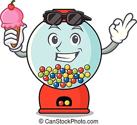 With ice cream gumball machine character cartoon vector...