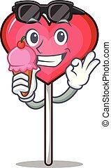 With ice cream heart lollipop character cartoon vector ...