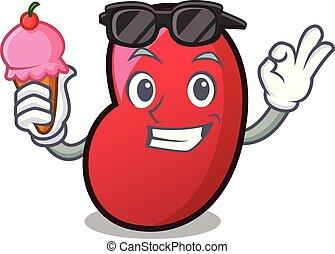 With ice cream jelly bean character cartoon vector illustration