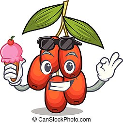 With ice cream jujube fruit isolated with the cartoon vector illustration