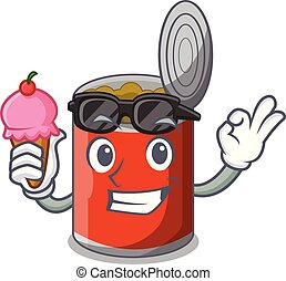 With ice cream metal food cans on a cartoon vector...