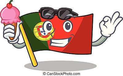 With ice cream portugal flag folded on cartoon table