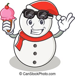 With ice cream snowman character cartoon style
