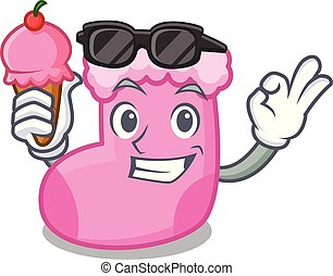 With ice cream sock character cartoon style