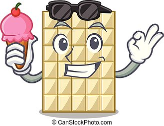 With ice cream white chocolate on a cartoon plate