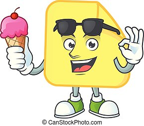 With ice cream yellow rounded sticker paper for business