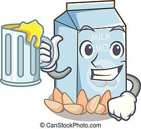With juice almond milk in the cartoon bottle