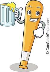 With juice baseball bat character cartoon