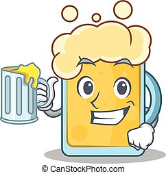 With juice beer character cartoon style