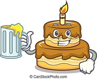 With juice birthday cake mascot cartoon