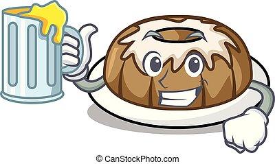 With juice bundt cake mascot cartoon