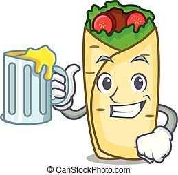 cartoon burrito mexican beer vector illustration mascot juice clip mug simple