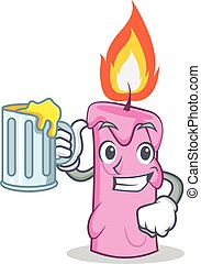 With juice candle character cartoon style vector...