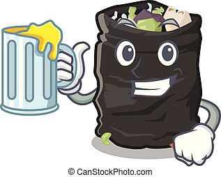 With juice cartoon garbage bag next to table vector illustration