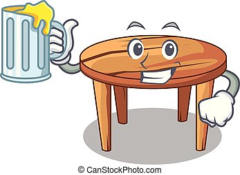 With juice cartoon wooden dining table in kitchen
