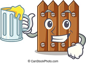 With juice cartoon wooden fence over the grass