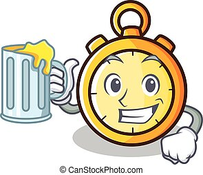 With juice chronometer character cartoon style