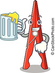 With juice clothes peg mascot cartoon vector illustration