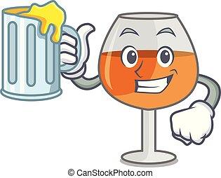 With juice cognac ballon glass mascot cartoon