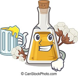 With juice cottonseed oil in the cartoon shape vector ...