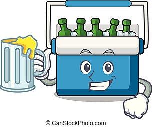 With juice freezer bag mascot cartoon