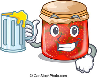 With juice fresh tasty strawberry jam on mascot vector...