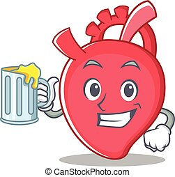 With juice heart character cartoon style