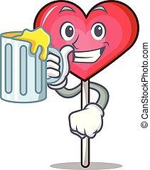 With juice heart lollipop mascot cartoon vector illustration