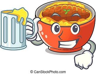 With juice hot katsudon on the cartoon table