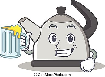 With juice kettle character cartoon style vector...