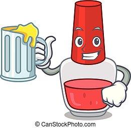 With juice nail polish mascot cartoon