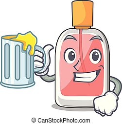 With juice perfume bottle on the character table vector...