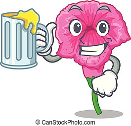 With juice petunia flower grows in character pots vector illustration