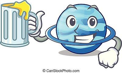 With juice planet uranus in the cartoon form vector...