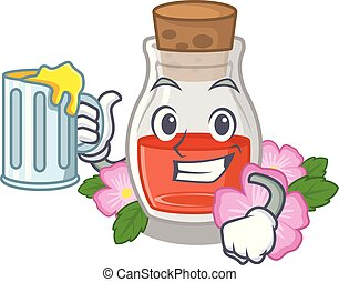 With juice rose seed oil the cartoon shape