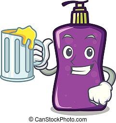 With juice shampo mascot cartoon style
