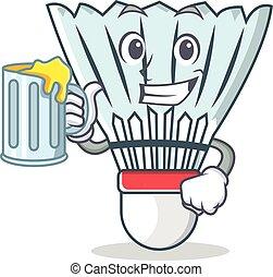 With juice shuttlecock character cartoon vector