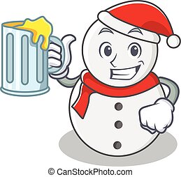 With juice snowman character cartoon style