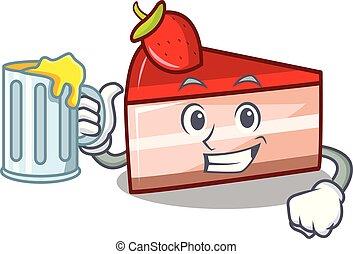 With juice strawberry cake mascot cartoon
