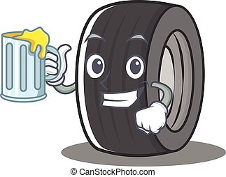 With juice tire character cartoon style