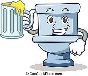 With juice toilet character cartoon style