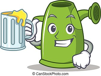 With juice watering can character cartoon