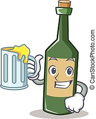 With juice wine bottle character cartoon