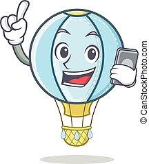 With laptop air balloon character cartoon