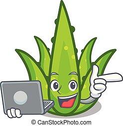 With laptop aloevera character cartoon style