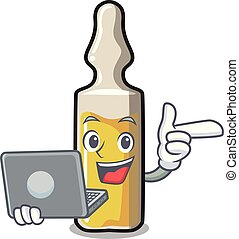 With laptop ampoule character cartoon style vector...