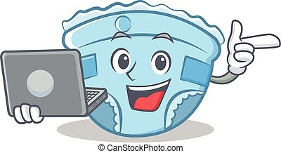 With laptop baby diaper character cartoon
