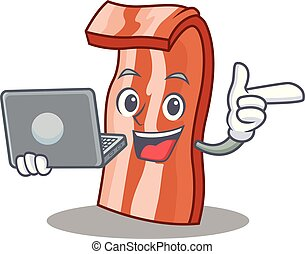 With laptop bacon character cartoon style vector...